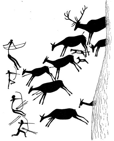 Escena de caza mamuts